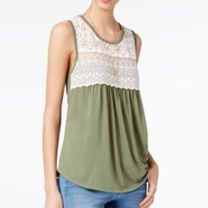 [004]Belle Du Jour Ruched Crochet-trim Tank Top